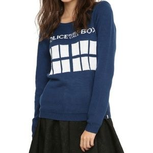 Hot Topic Doctor Who Tardis Knit Sweater